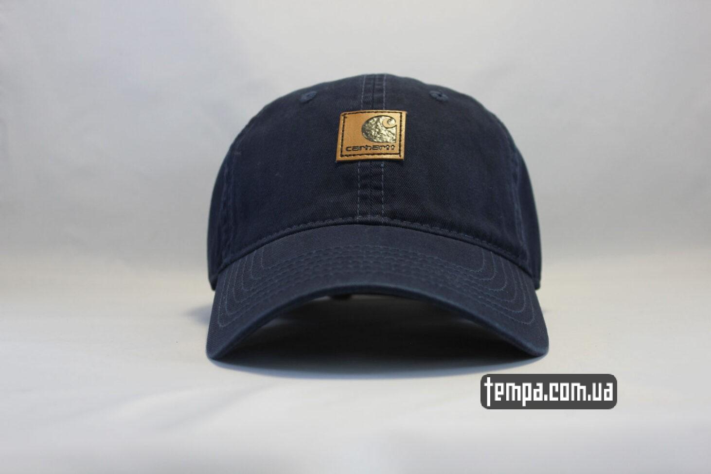 кепка бейсболка Carhartt синяя кожаный логотип