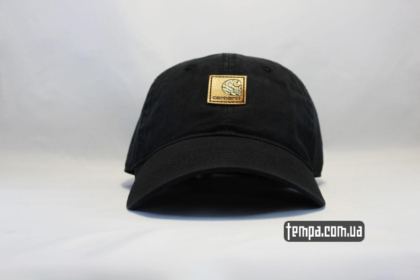 кепка бейсболка carhartt кожаный логтип черная