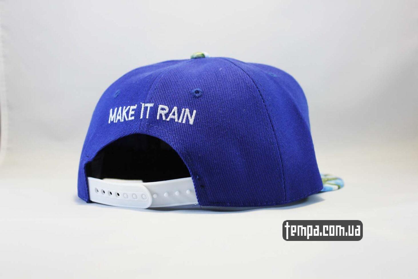 реперские бейсболки купить кепка snapback Make It Rain Cayler and Sons с деньгами синяя