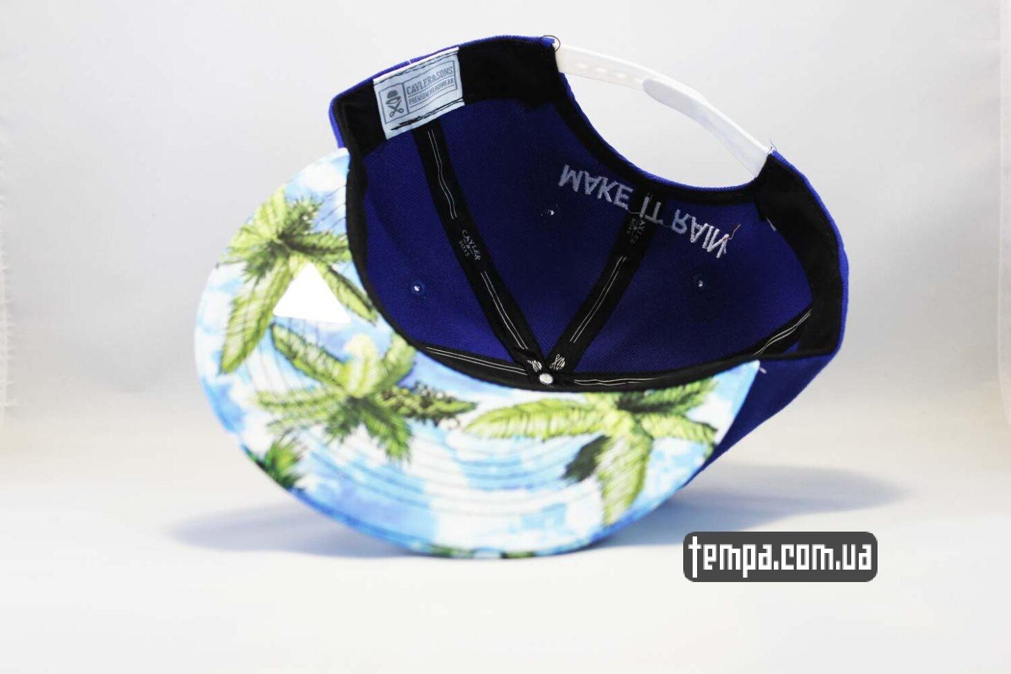 с пальмами летняя кепка snapback Make It Rain Cayler and Sons с деньгами синяя