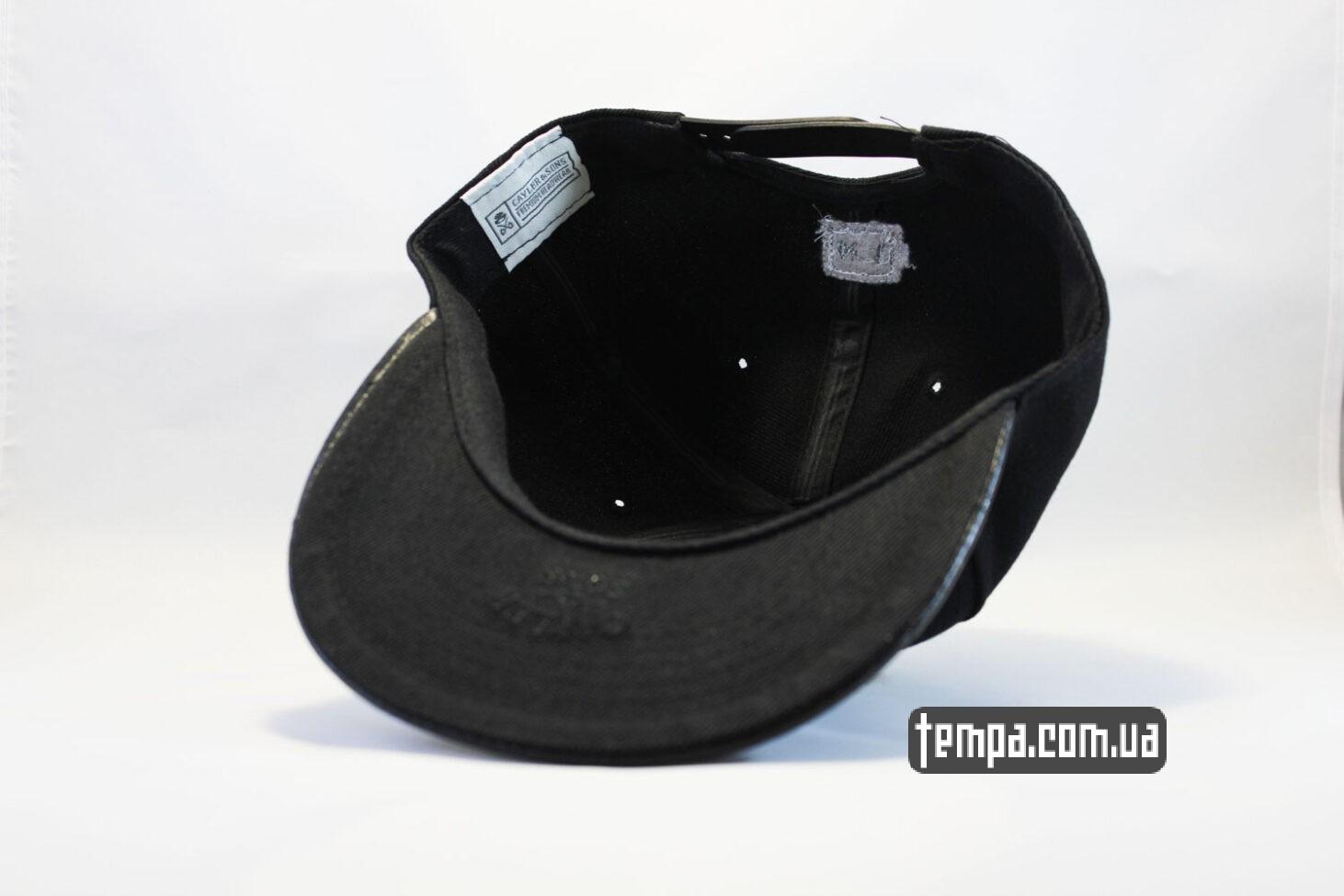 кепка бейсболка купить кепка snapback Chanel Cayler and Sons черная кожаный козырек