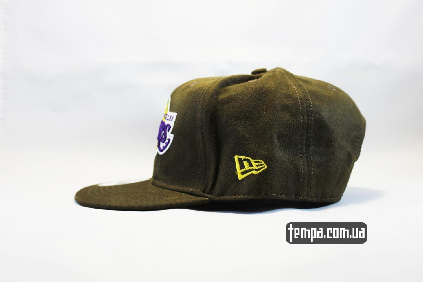 замшевая теплая кепка snapback Lakers New Era MBA AND1 зеленая замшевая