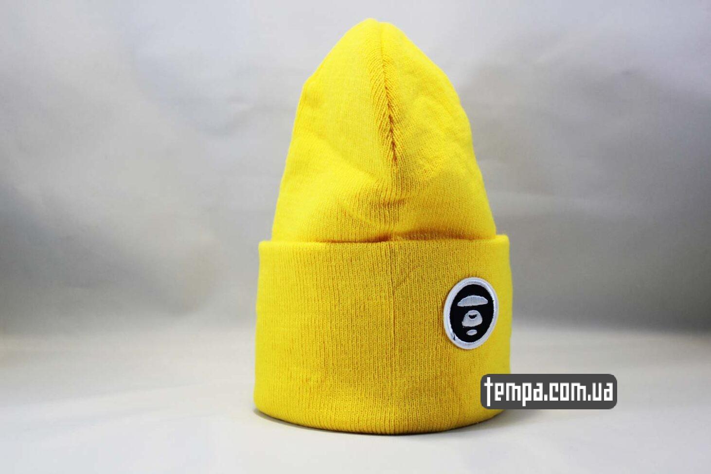 купить оригинал эйп шапка beanie Aape желтая Украина Купить