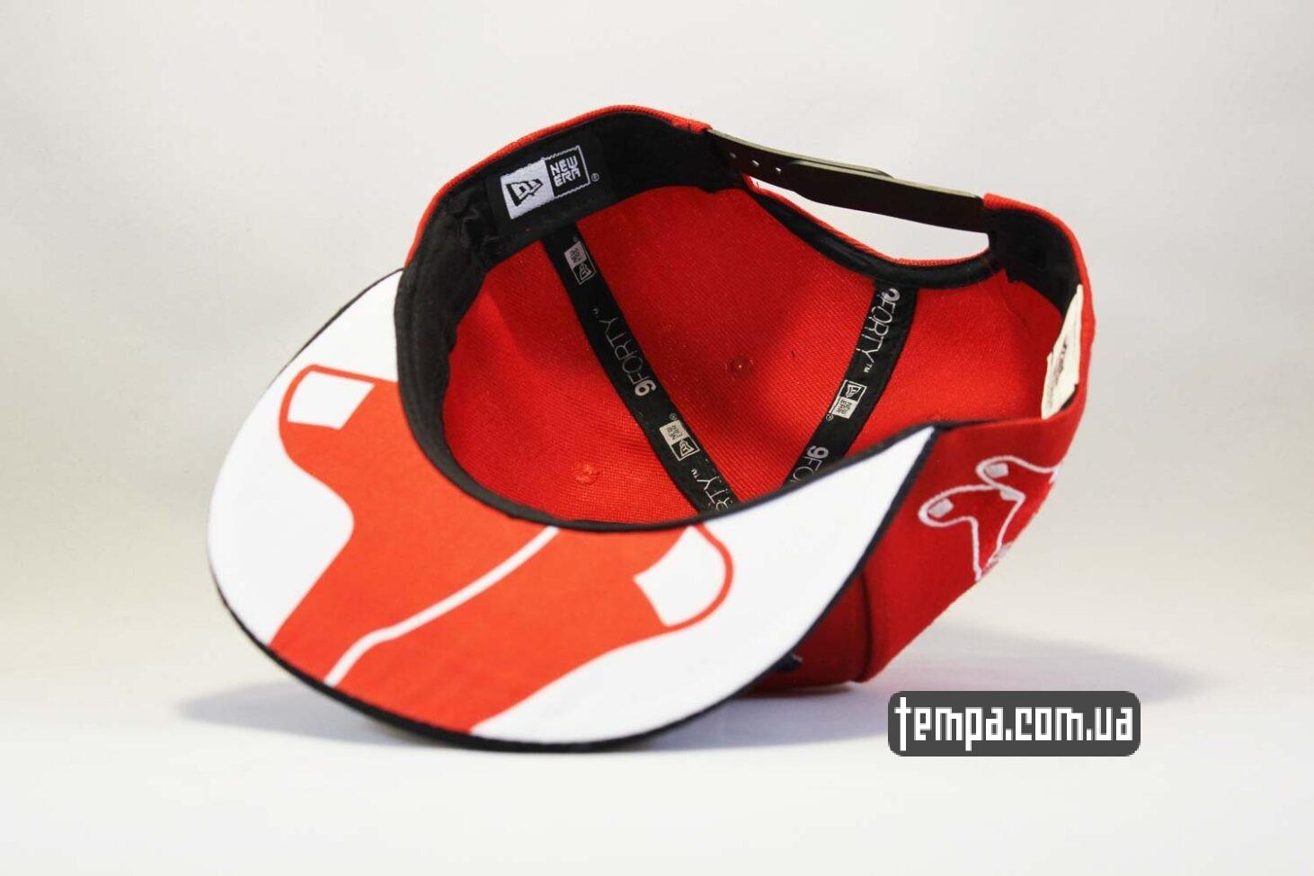 прямой ровный козырек бейсболки кепка snapback красная New Era RED SOX оригинал 9fifty