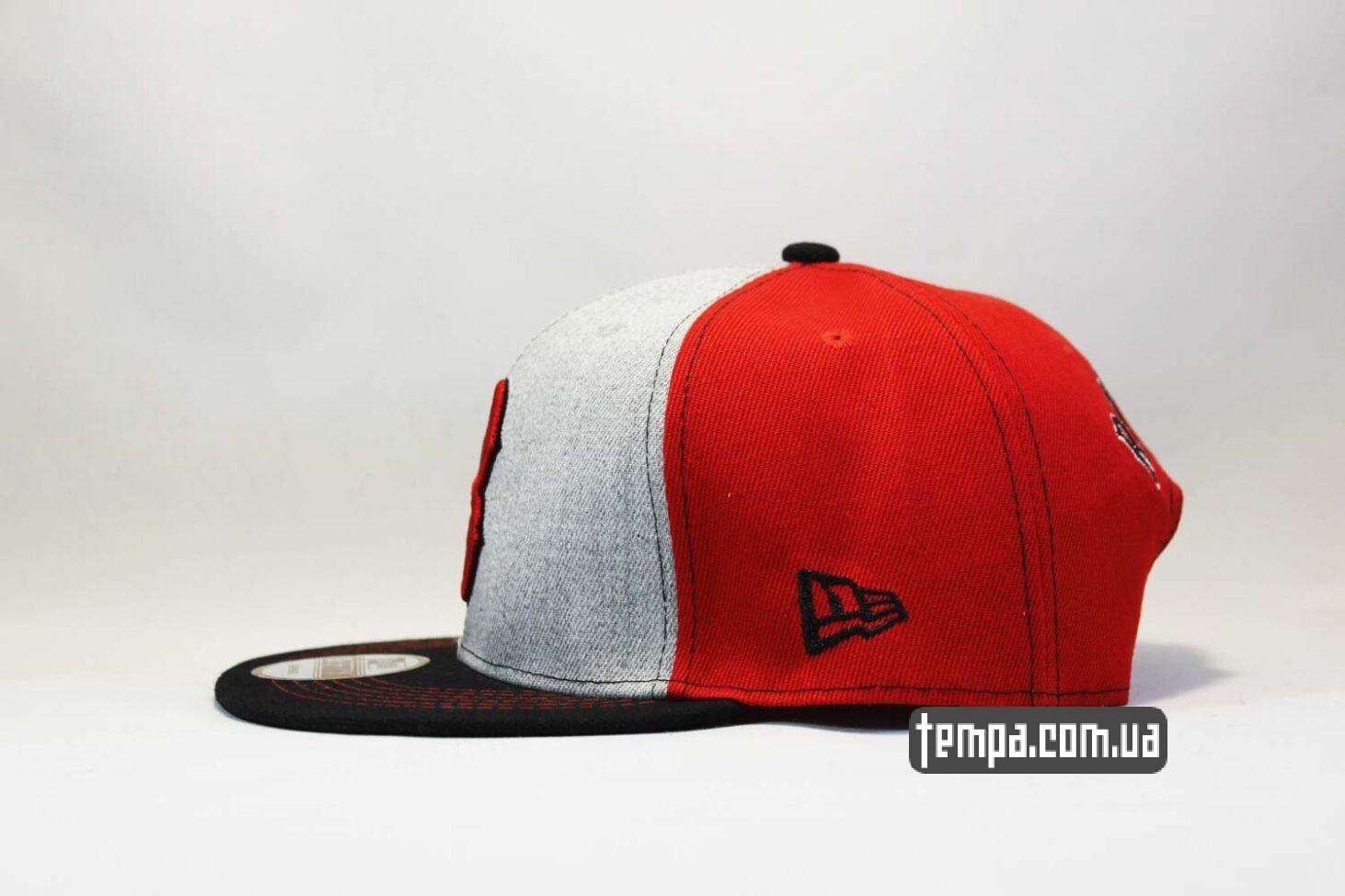 ровный козырек ньюэра кепка snapback Boston NewEra 9fifty бостон бейсбокла купить красно-серая