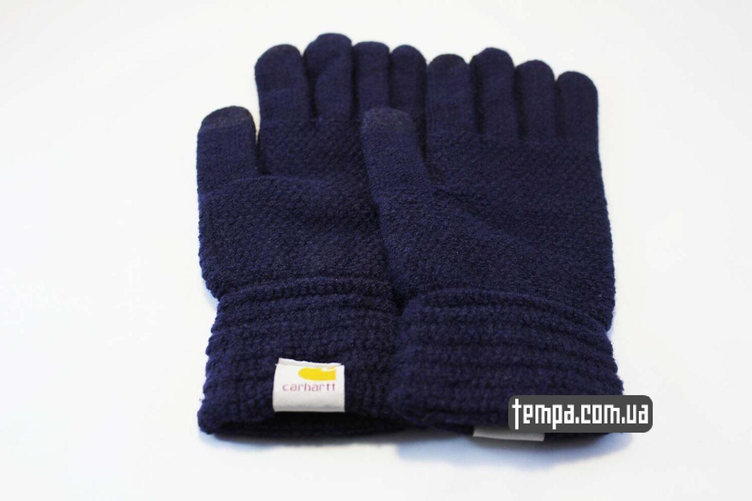темно-синие теплые перчатки Carhartt синие для сенсорных мобильных экранов
