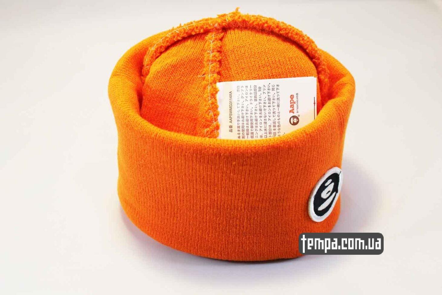 теплая зимняя шапка beanie Aape оранжевая яркая купить Украина