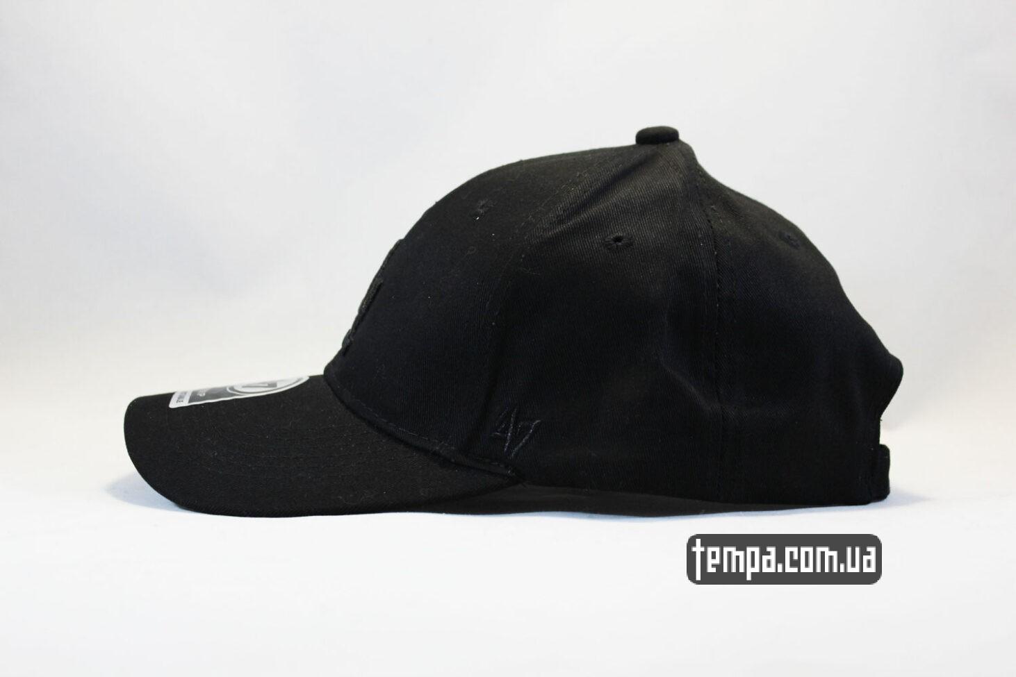 черный логотип на черной кепке кепка бейсболка LA Los Angeles 47 New Era черная на черном