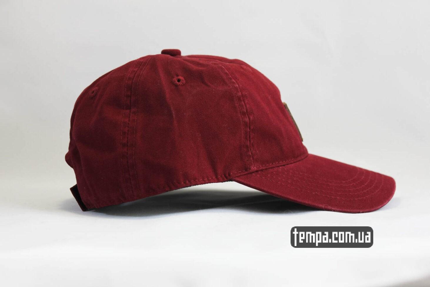 карахарт оригинал кепка бейсболка snapback Carhartt бордовая кожаный логотип