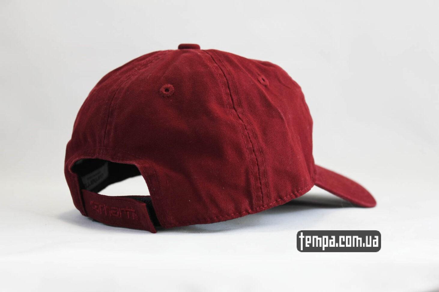 кархарт украина купить кепка бейсболка snapback Carhartt бордовая кожаный логотип