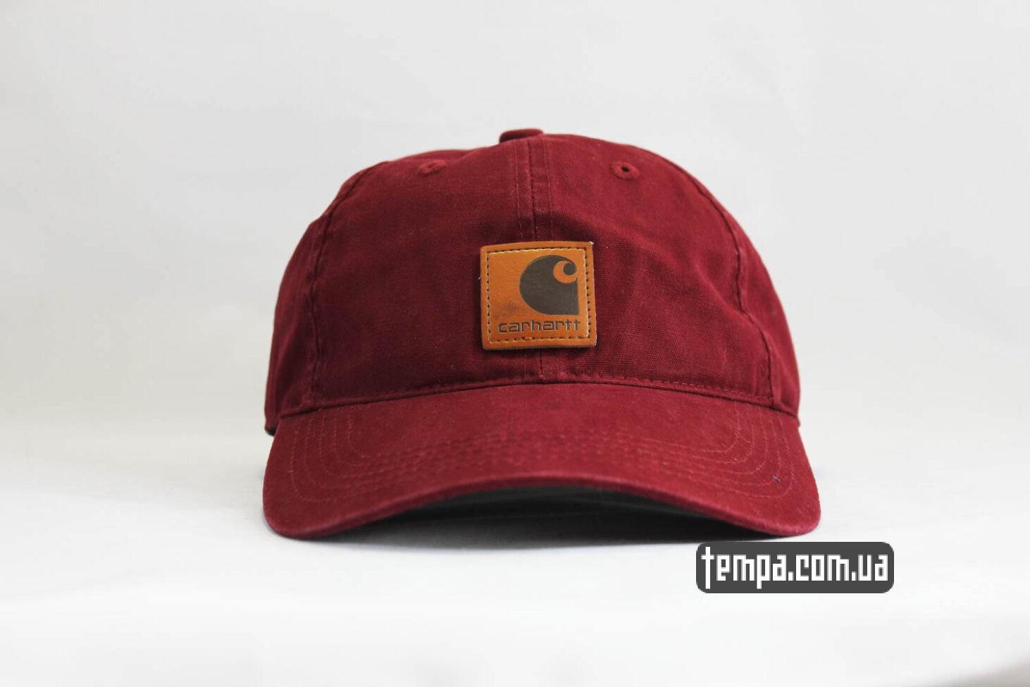 кепка бейсболка snapback Carhartt бордовая кожаный логотип