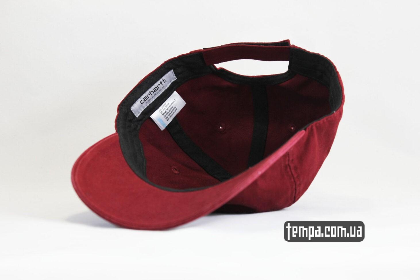 красная бордовая круглый козырек кепка бейсболка snapback Carhartt бордовая кожаный логотип