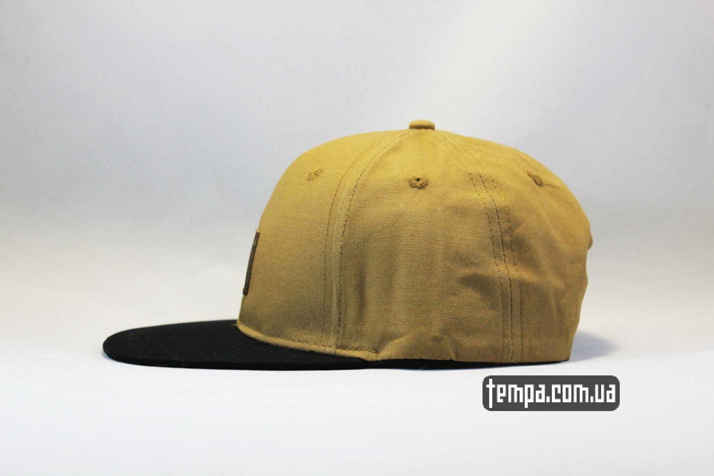 прямой козырек кепка Snapback Carhartt коричневая с кожаным логотипом